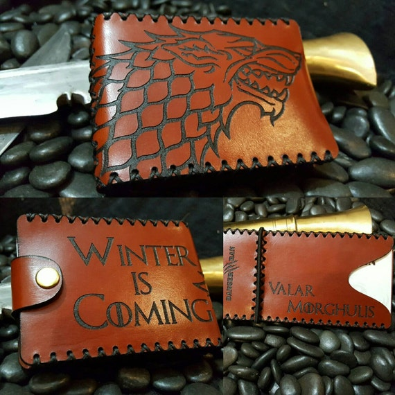 "Premium Chestnut Stark Wallet ""Winter is Coming"" ""Valar Morghulis"""