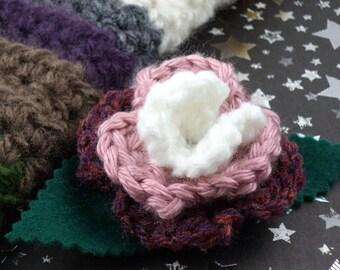 Romana - Crocheted Rose Bar Pin - White, Pink, and Dark Rose (SWG-PS-DWRO01)