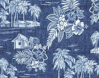 Tradewinds in Navy from the Tradewinds Collection by Michael Miller Fabrics, South Pacific, Hawaiian