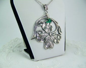 Silver Shamrock Necklace, Emerald Crystal Accent, Four Leaf Clover, St. Patrick's Day, Good Luck Charm, Shamrock