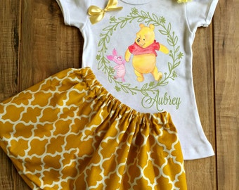 Personalized Winnie the Pooh and Piglet Skirt Set - Winnie the Pooh Birthday Dress - Winnie the Pooh Outfit - Winnie the Pooh Dress