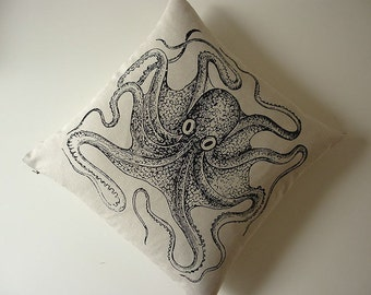 Octopus silk screened cotton canvas throw pillow 18 inch black
