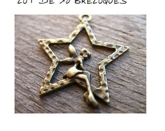 Set of 10 fairy on a bronze Elf (T38) Star charms