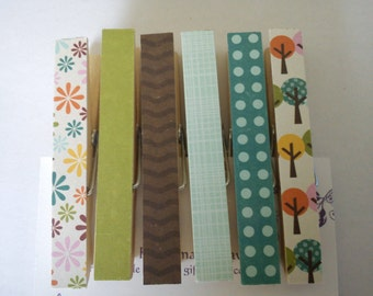 Walk in the Park mix fridge magnets clothespins pegs