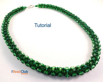 Beaded Necklace Patterns - Right Angle Weave - Beading Tutorials and Patterns -  Beadweaving Tutorials - Beadwork PDF - Reversible Necklace