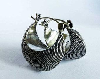 HOBO Earrings Crescent shape Oxidized Patina Bali Sterling Silver Hoop earrings AE13