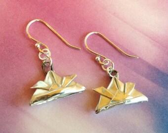 Silver Origami Samurai Helmet Earrings