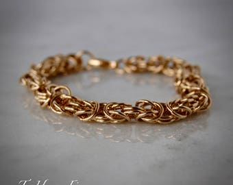 14k Yellow Gold Filled Byzantine Chain Bracelet