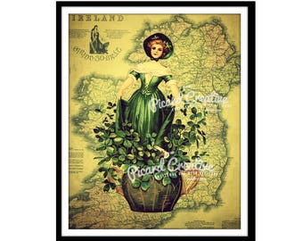 Irish Lass Digital Print- Irish Girl with Clovers and Antique Map of Ireland. Digital Download 8 x 10 JPEG