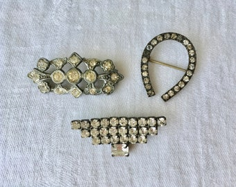 Vintage Paste Rhinestone Pin Brooch lot 3 horseshoe nice condition Patina!