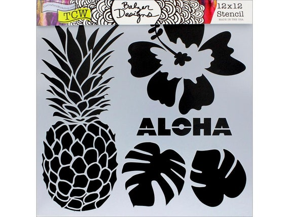 """Aloha 12 x 12"""" Stencil designs like pineapple, tropical leaves, hibiscus perfect for mixed media, scrapbooking, journaling and more"""