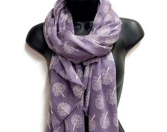 Mulberry Tree Pattern Purple Scarf,Spring Summer Scarf,Gifts For Her,Printed Scarf,Gifts for Mother,Women Scarf,Christmas Gifts
