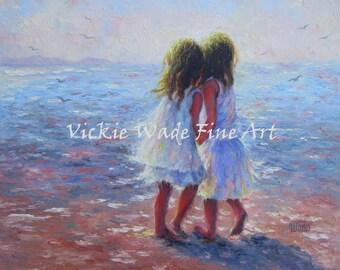Two Brunette Sisters Beach Art Print beach girls, two beach girls, two brunette sisters, whispering, best friends, ocean, Vickie Wade art