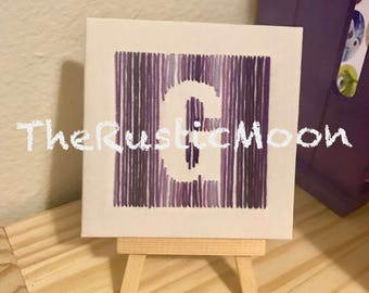 Custom Initial Canvas Stand Monogrammed Sewn Embroidery Handmade