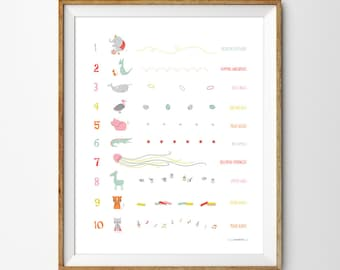 Numbers wall art, Instant Download, Counting print, Numbers nursery art, Educational poster, Modern numbers print, kooky Animal, 1 to 10
