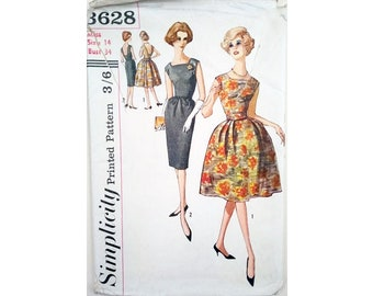 "Part UNCUT Simplicity 3628 Vintage 1960's Dress with Straight or Full Flared Rockabilly New Look Skirt Sewing Pattern Size Bust 34"" UK 12"