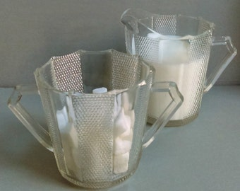 Vintage Art Deco Cut Glass Cream Pitcher & Sugar Bowl Set