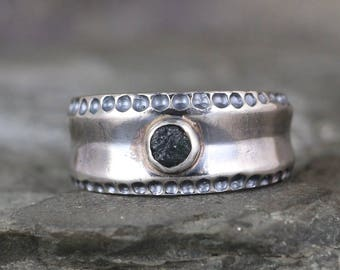 Men's Raw Montana Sapphire Ring  -  September Birthstone Ring - Blue Gemstone Ring - Rustic Sapphire Ring - Sterling Silver Statement Ring