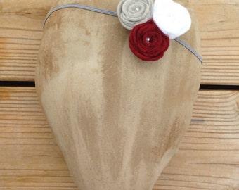 Three Handmade Felt Rosette Headband Photo Prop Newborn Infant