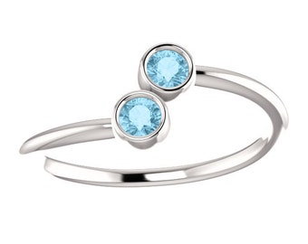 Aquamarine 14k White Gold, Stacking Ring, Made to Order, Dual Stone, March Birthstone