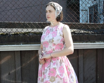 Vintage 1950's Pink Floral Dress // 50s Cotton Sleeveless Sun Dress  with Belt // Pleated Skirt Day Dress