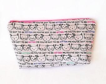Bolsa de cosméticos, bolsa de maquillaje, bolsa de gato, caja de lápiz de gato, zippered el bolso, neceser, bolsa de viaje, regalo para ella, bolso pequeño maquillaje