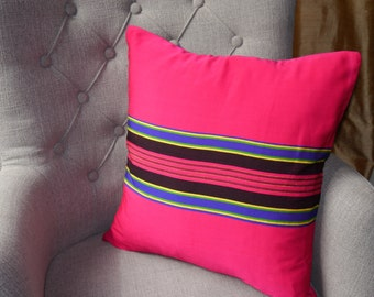 Pink Cushion, Striped Pink Cushion, pink and blue striped pillow, bright pink cushion
