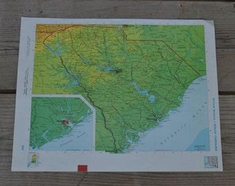 South Carolina State Vintage Original Map Print