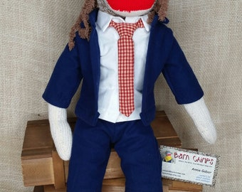 AC/DC Sock Monkey, Rock N Roll, Angus Sock Monkey, ROCKford Red Heel Sock Monkey