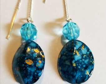 Blue and Gold Threaded Earrings