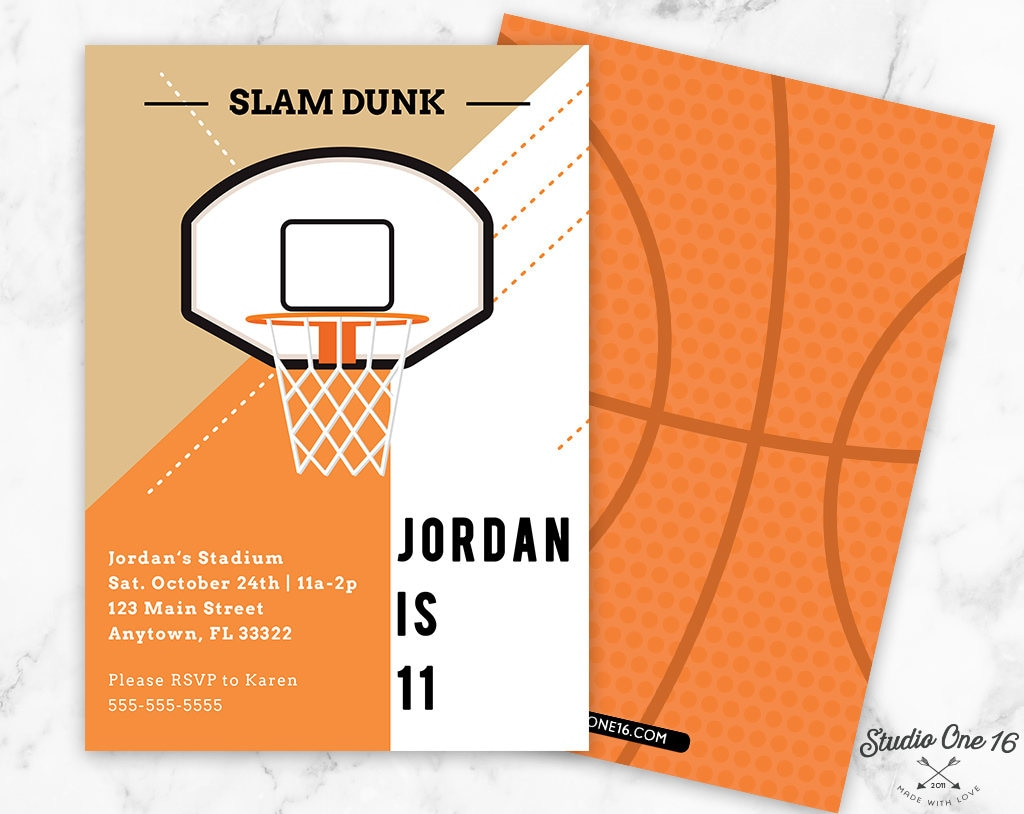 Basketball Birthday Invitation Basketball Invitation