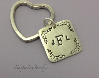 "Monogram initial Accessory - Hand Stamped - 1"" Pewter Key Chain - Heart Key Ring - Border Design - Fancy Key Chain - Gifts for Her"