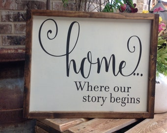Home Where our story begins, Sign, Home Sign, Farmhouse Style Sign, Wood Sign Saying, Farmhouse Decor Sign, Fixer Upper Sign, Rustic Sign