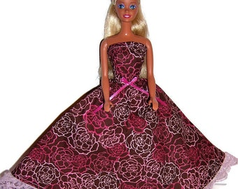Fashion Doll Clothes-Pink/Brown Floral Print Strapless Dress