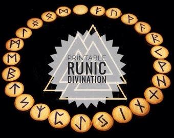 Rune casting. Divination cards. Runic circle, casting and reading. Viking runes. Elder Futhark. Digital file. Divination runes reading