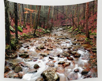 Creek Tapestry, River Tapestry, Woods Tapestry, Woodland Tapestry, Landscape Tapestry, Forest Tapestry, Rustic Tapestry, Landscape Wall Art