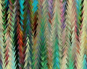 Artisan Hand Created Multi Zig Zag Missoni Like Velvet Upholstery Fabric Fiber Art