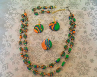 set (necklace, bracelet, ring and earrings) original, unique (Navy Blue, orange and green)