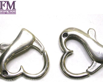1pc Decorative Lobster Clasp Heart 20mm Sterling Silver 925 - Trigger Clasps, Necklace Clasps, Bracelet Clasps, JBB Findings