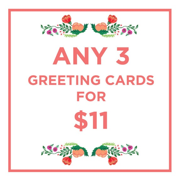 Set of 3 Greeting Cards, Card Bundle, Card Deal, Unique Cards, Card Set, Mix and Match 5x7