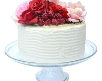 Fake Cake With Roses and Raspberries - Red Rose Wedding Cake - Fake Food Staging - Valentine's Day Table Decor - Centerpiece