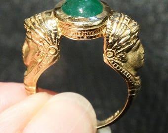 Emerald 14K Ring, Hammurabi Image, Natural Cabochon Emerald, Vintage Statement