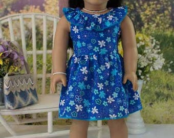 18 Inch Doll DRESS in Blue Floral with Ruffle Collar Necklace Bracelet Headband and SANDALS Option for dolls like American Girl