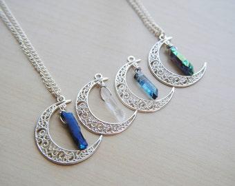 Crystal Moonchild Necklace -- Clear Quartz -- Aqua Quartz -- Mystic Quartz -- Rainbow Aura Quartz -- Moon Jewelry -- Gypsy -- Quartz Moon