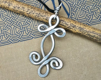 Celtic Swirl Shamrock Whirl Big Pendant, Aluminum Celtic Necklace, Large Celtic Jewelry, St. Patrick's Day Gift, Women, Celtic Knot