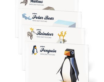 4 ICE ANIMALS Paper Craft Postcards - Penguin - Reindeer - Polar Bear - Walrus - 3D Model Paper Figures