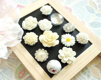 Mixed Ivory 12 Piece Flower Magnets, Ivory Magnets, Fridge Magnets, Wedding Board Magnets, Rare Earth Magnet, Ivory Magnets, Locker Magnets