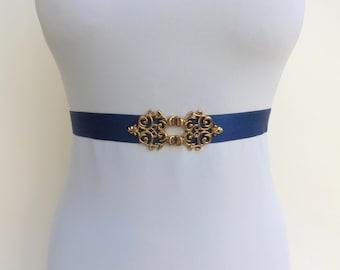 Blue elastic waist belt. Navy blue belt. Dark blue belt. Gold filigree belt. Dress belt. Bridal belt. Bridesmaids belt. Stretch belt.