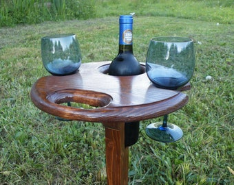 Folding Wine Table - Outdoor Wine Glass Holder - Picnic Wine Table - Camping Wine Table - Wine Drinkers - Wine Gift