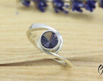Ring silver with grey violet tourmaline